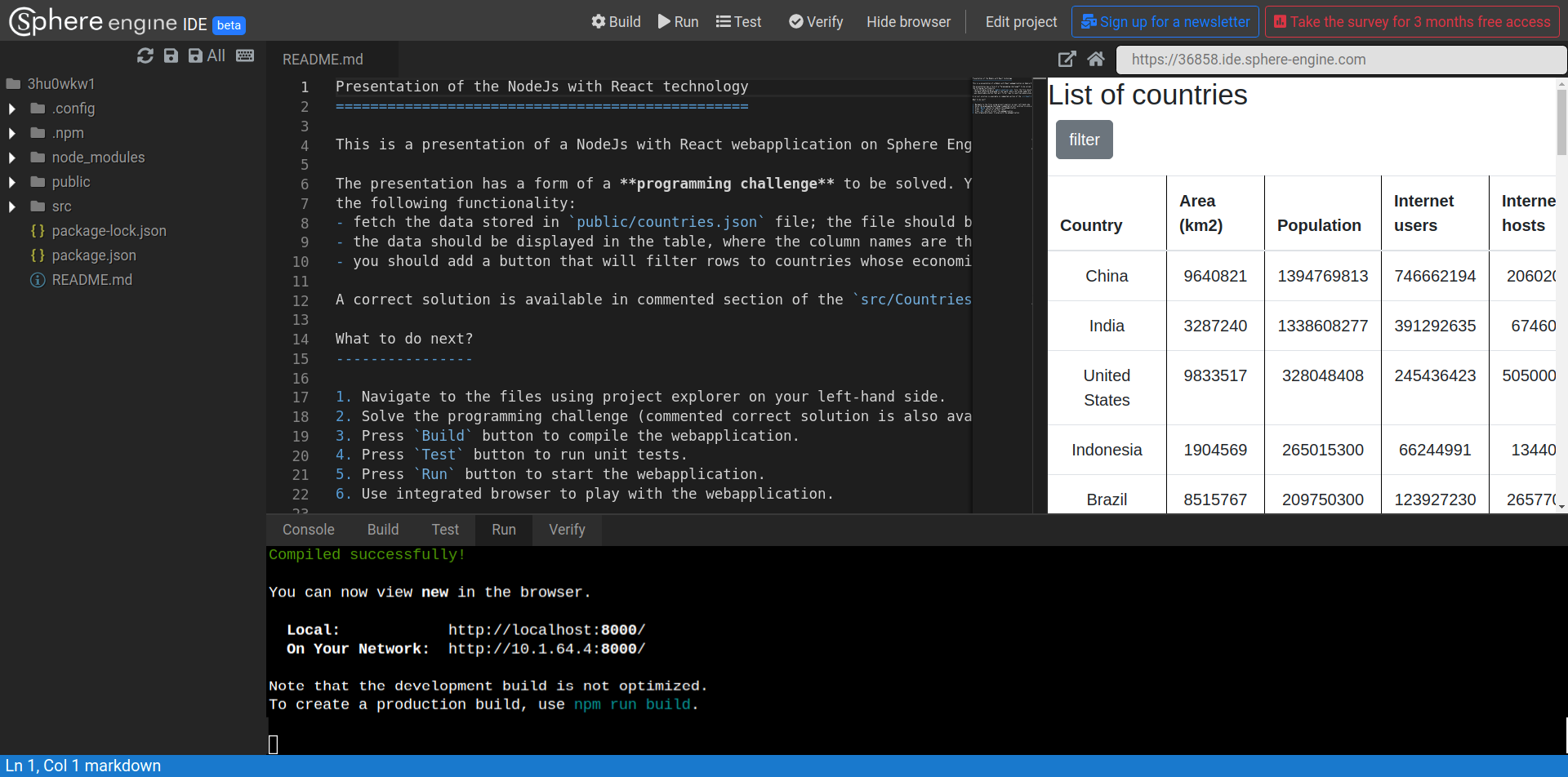 Screenshot of Sphere Engine IDE