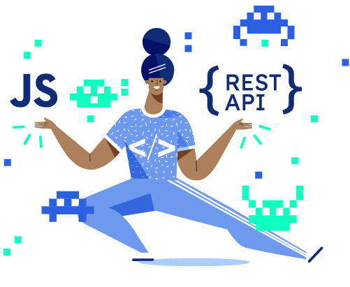 Illustration of a developer excercising between symbols of API and JavaScript widget