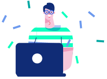 Illustration showing a developer with a laptop